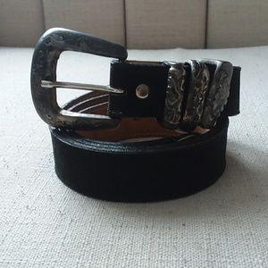 Leatherock black suede belt silver heavy buckle